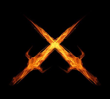 fire flame sword twin isolated on black Standard-Bild