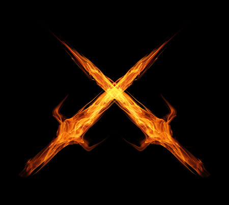 fire flame sword twin isolated on black photo