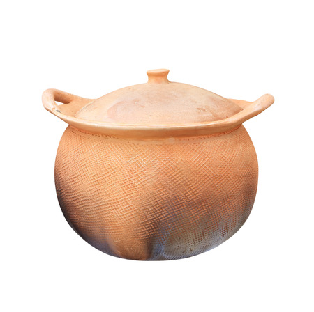 smut: Old pottery pot closed on white background.