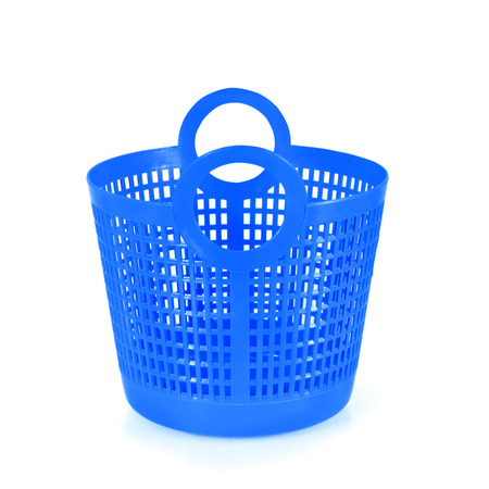 onlineshop: Small blue plastic basket isolated on white