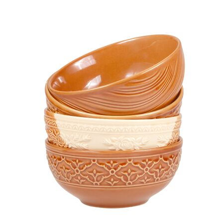 overlap: brown clay bowls overlap isolated on white background