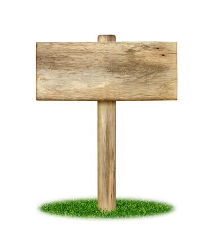 Wooden sign on grass isolated on white background photo