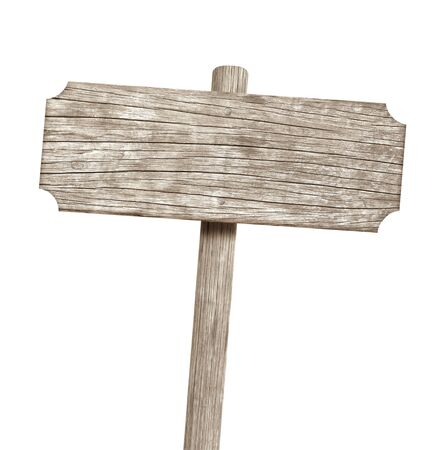 Wooden sign isolated on white Stok Fotoğraf