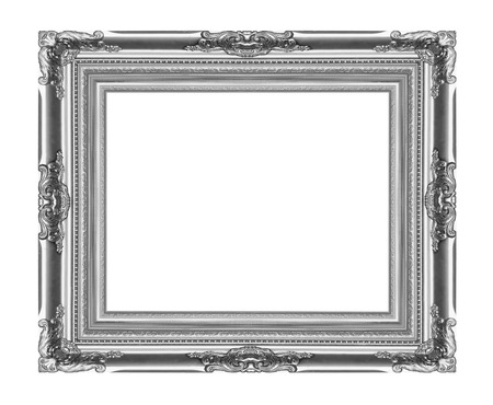 The metal silver frame on the white background