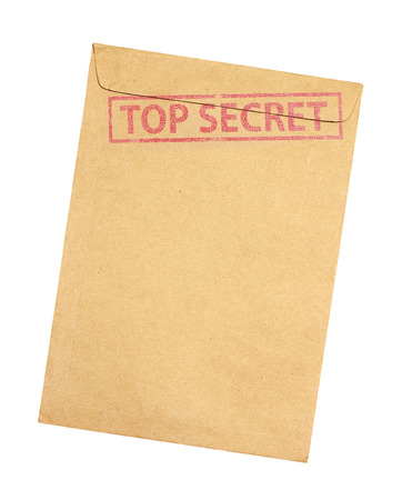 top secret: Brown envelope with top secret stamp isolated on white background Stock Photo