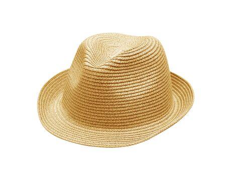 straw hat: Cappello di paglia isolata on White Archivio Fotografico
