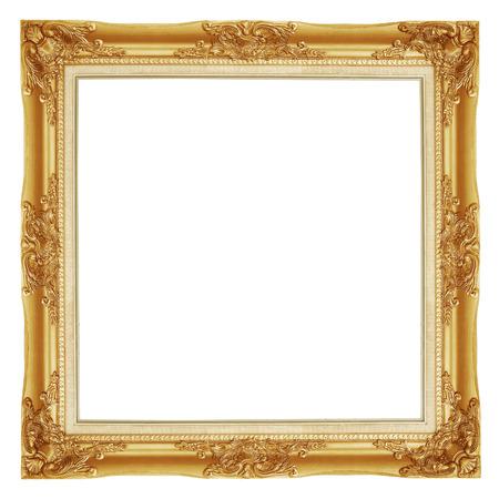 objetos cuadrados: El marco de oro antiguo sobre el fondo blanco Foto de archivo