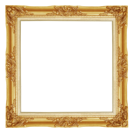 square: The antique gold frame on the white background