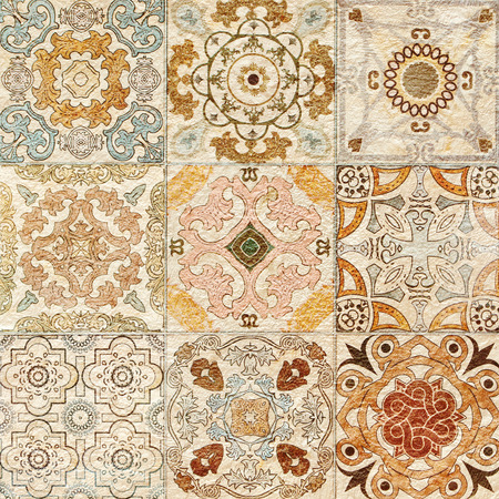 spanish tile: Colorful vintage ceramic tiles wall decoration