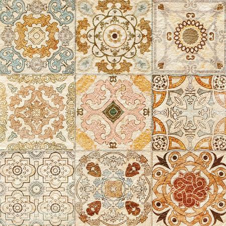 ceramica: Decoración de pared de azulejos de cerámica de vintage colorido  Foto de archivo