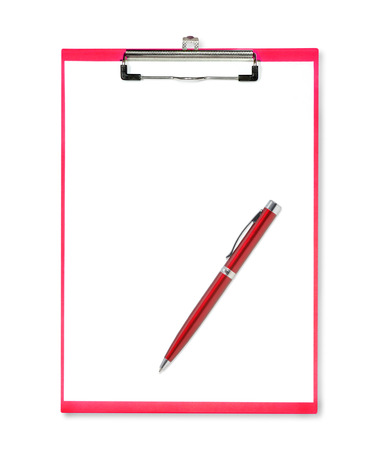 Red pen on red clipboard with paper on white background photo