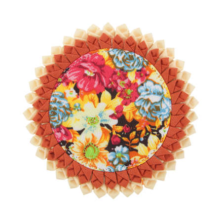 Coaster made from fabric isolated on white Stok Fotoğraf