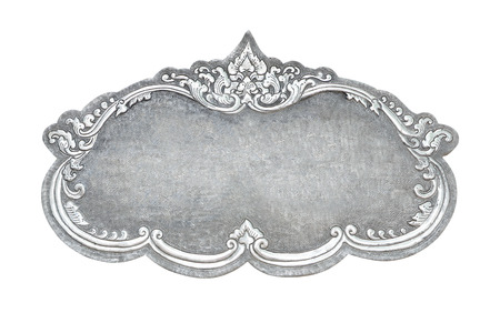 silver frame: old decorative silver frame - handmade, engraved - isolated on white background