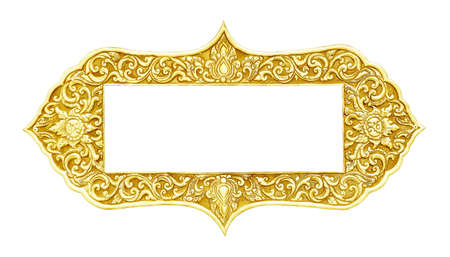 old frame: old decorative gold frame - handmade, engraved - isolated on white background