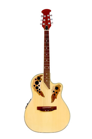 single songs: guitar isolated on white Stock Photo