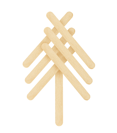 wood craft: tree made from wood ice-cream stick isolated on white background Stock Photo