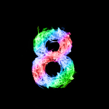 number eight: colorful of number eight made from flame on black background