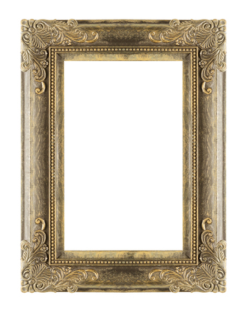 antique: The antique gold frame on the white background