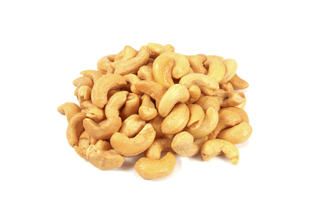 cashew: Roasted cashew nuts on white Stock Photo
