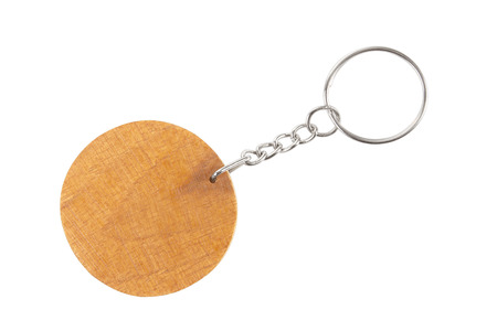 key chain: wooden key chain with rings isolated on white background