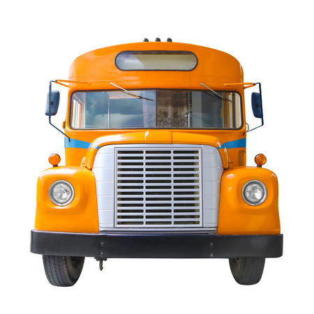 front side: yellow school bus front side view isolated on white background Stock Photo