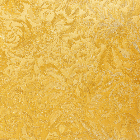 Golden floral ornament brocade textile pattern