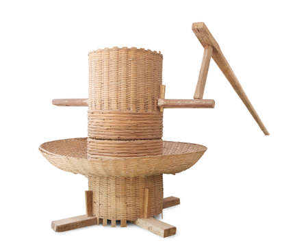 machine made: old wooden rice milling  Rice Milling manual machine made from bamboo in thailand Stock Photo