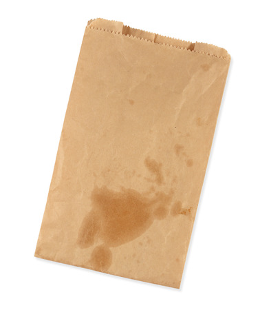 Old brown paper package bag had the stain oil Stock Photo