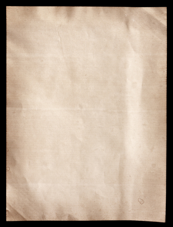 sheet of paper: Old brown paper texture on black Stock Photo