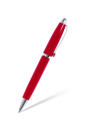 red pen: Red pen with shadow on white Stock Photo