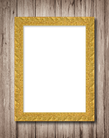 golden border: The antique gold frame on wooden wall background