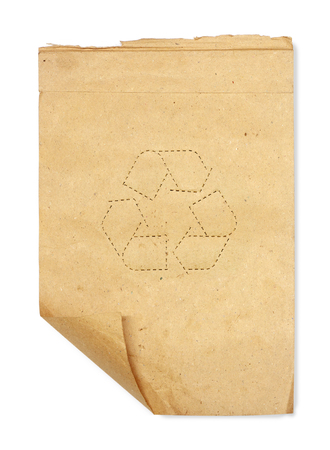 scrap paper: Old scrap paper whit recycle symbol  isolated on white Stock Photo