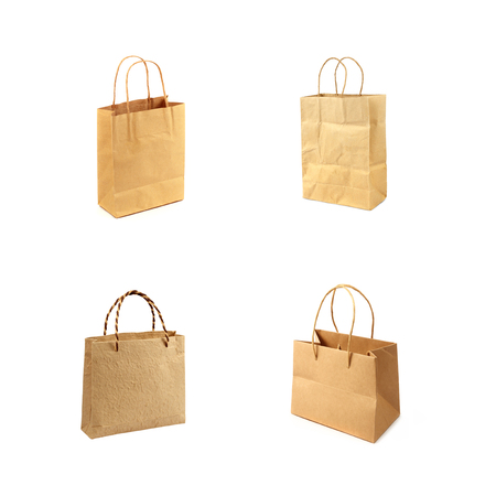 brown paper bag: blank brown paper bag isolated on white background Stock Photo