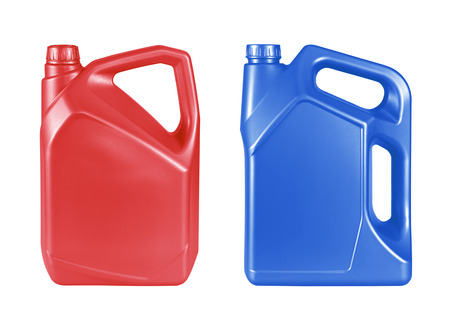 gallon: red and blue gallon canister with engine oil isolated on white background