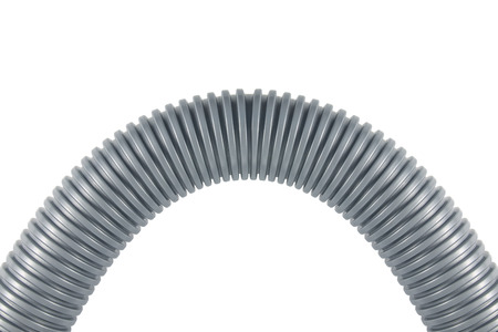 plastic conduit: Gray plastic corrugated pipe isolated on white background Stock Photo