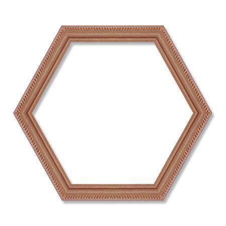 heptagon: wooden hexagonal frame isolated on white background.