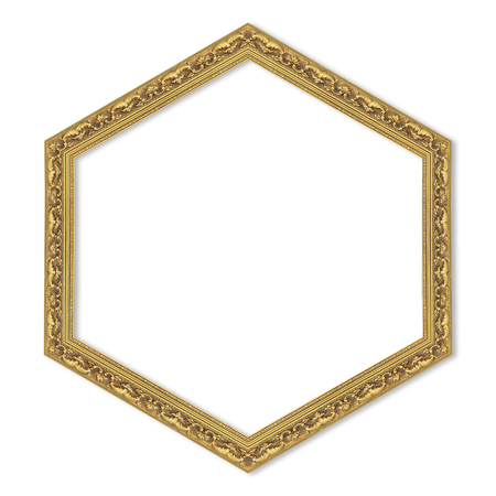 heptagon: hexagonal gold frame isolated on a white background.