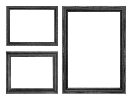 old picture: wooden picture black frame isolated on white background Stock Photo
