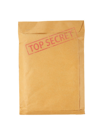 top secret: Brown envelope stamp Top Secret isolated on white background.