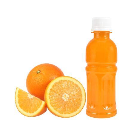 Orange fruit with Orange juice in plastic bottle on white background Stok Fotoğraf