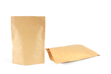 Kraft paper package isolated on white background.