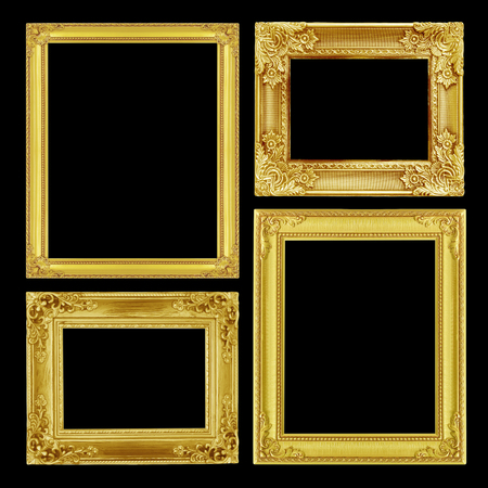 picture frame on wall: The antique gold frame on black background