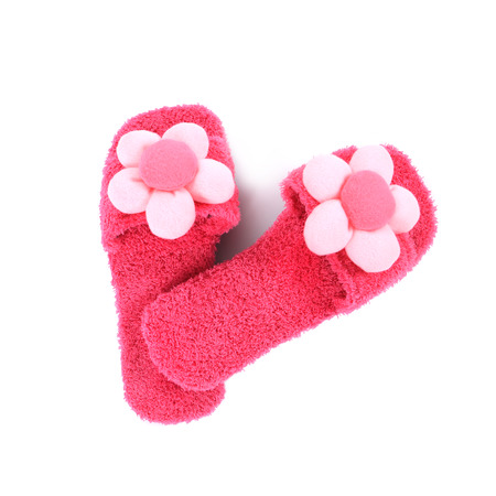 terrycloth: A pair of pink slippers on a white backgroundtop view