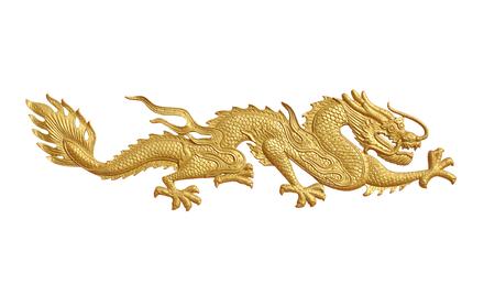 Golden dragon statue on white background