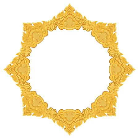 Gold Foam Frame Carving Craft Isolated On Black Background Stock ...