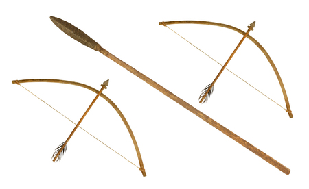 ancient spear and  bow isolated on white background