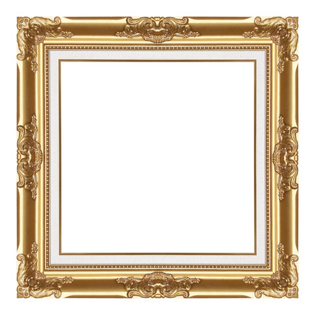 Il telaio d'oro antico isolato su sfondo bianco / cornice Archivio Fotografico - 52170988