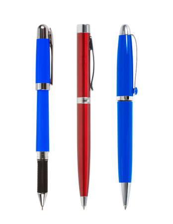 blue pen: Red and blue pen isolated on white