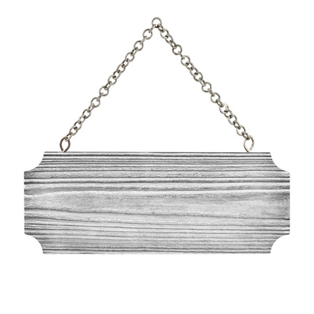 panel ling: close up of an empty wooden sign hang with chian on white background