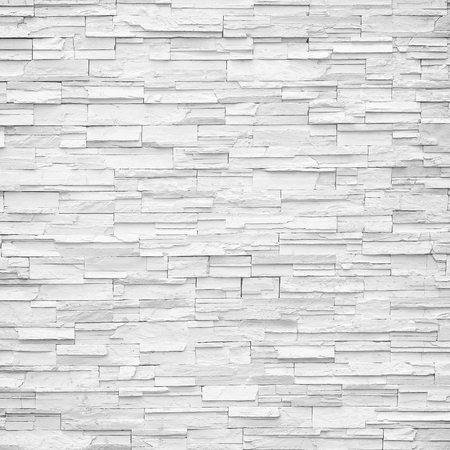 white wall texture: pattern of decorative white slate stone wall surface Stock Photo
